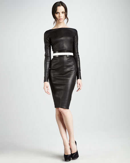 Long-Sleeve Leather Pencil Dress