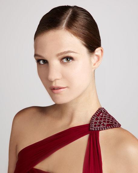 ML Monique Lhuillier One-Shoulder Beaded Chiffon Gown