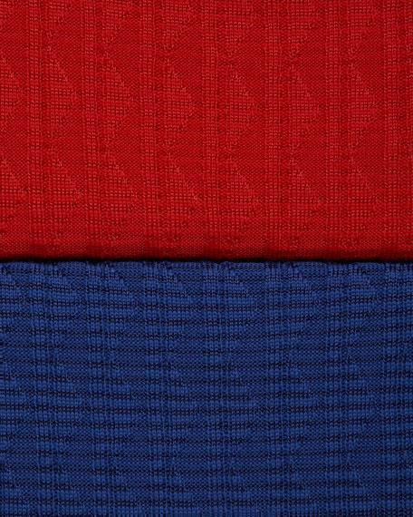 Zigzag Scoop-Neck Long-Sleeve Dress