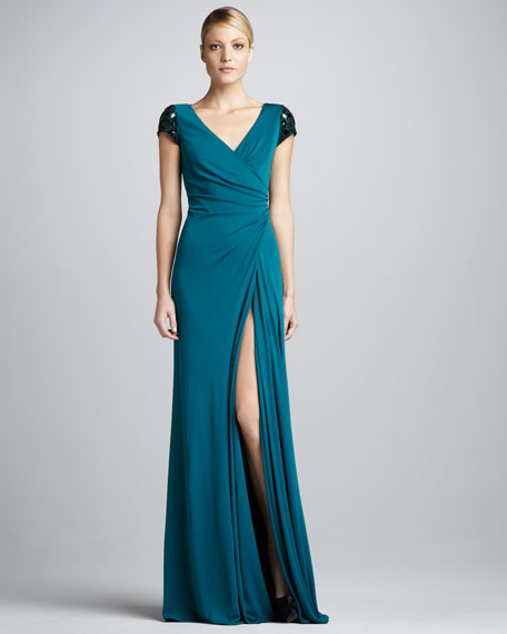 Beaded Faux-Wrap Gown