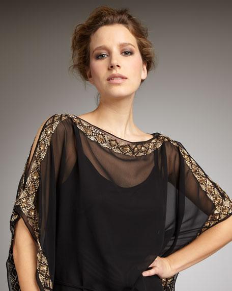 Beaded Caftan Dress, Black