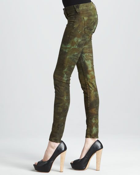 Halle Military Tie-Dye High-Rise Skinny Jeans