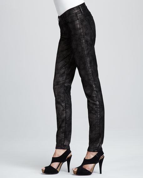 Skinny Moon Metal Black Velvet Jeans