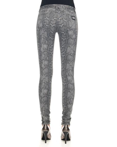 Cobra-Print Skinny Jeans