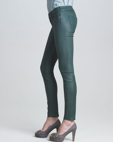 Casey Evergreen Stretch Leather Jeans