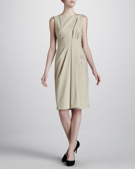 Draped Stretch-Wool Dress