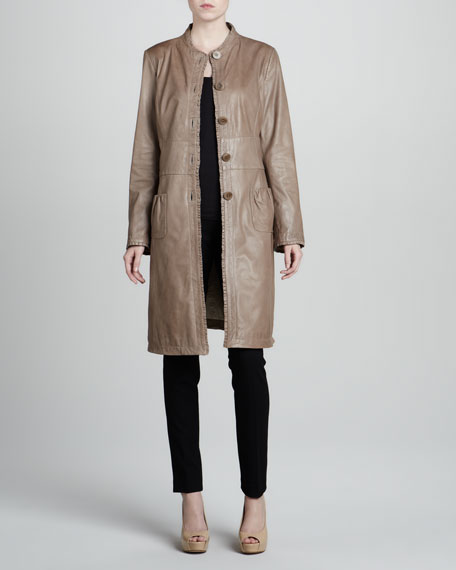 Ruffle-Trim Leather Coat
