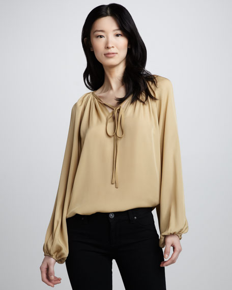 Paris Silk Tie-Neck Blouse