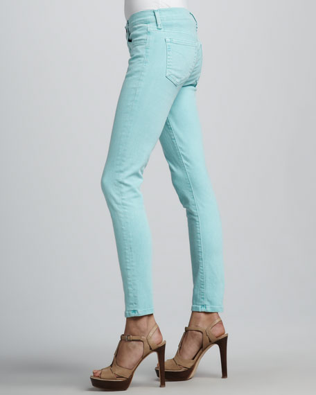 Straight-Leg Cropped Jeans, Aqua Blue