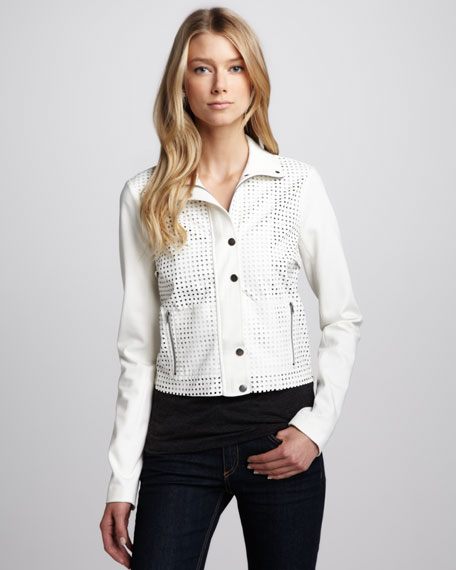 Perforated Snap-Front Jacket