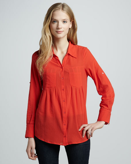 Pinot Double-Pocket Blouse, Cherry