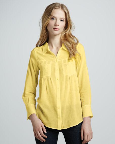 Pinot Double-Pocket Blouse, Yellow