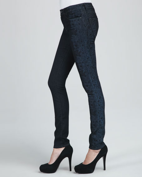 Gaia Floral-Side Skinny Jeans