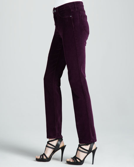 Sheri Velvet Skinny Pants, Dark Colors