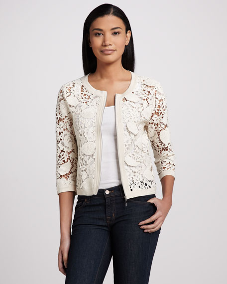 Crochet Zip Cardigan, Women's