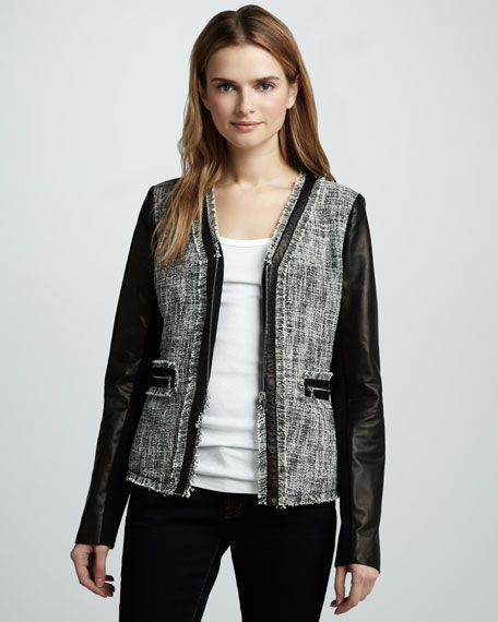 Leather-Sleeve Tweed Jacket