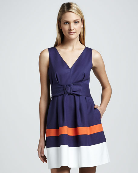 sawyer belted stripe sleeveless dress