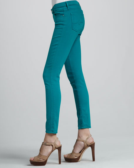 Denim Ankle Leggings, Bermuda Green