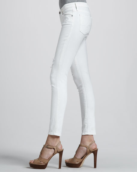 White Thrasher Distressed Ankle Legging Jeans