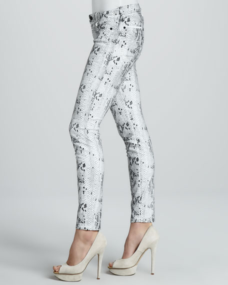 7 For All Mankind Snake-Print Skinny Jeans