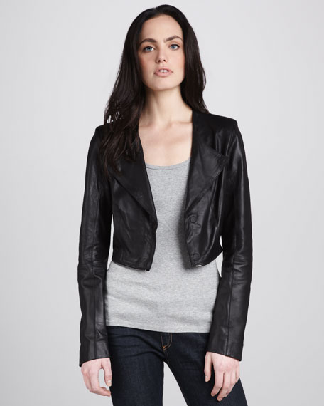 Gina Leather Peplum Jacket