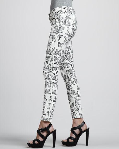 Verdugo Skinny Butterfly Jeans, White/Black