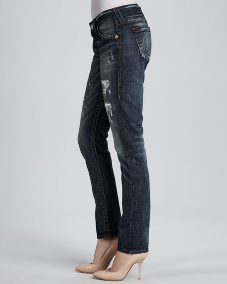 Breana Distressed Granite Slim Boyfriend Jeans