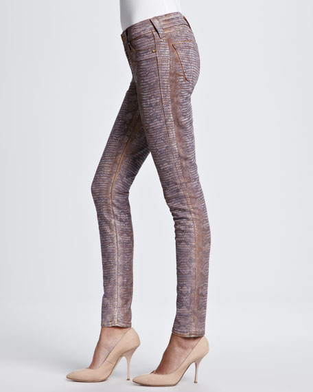 Halle Skinny Snake-Dyed Print Jeans, Pink
