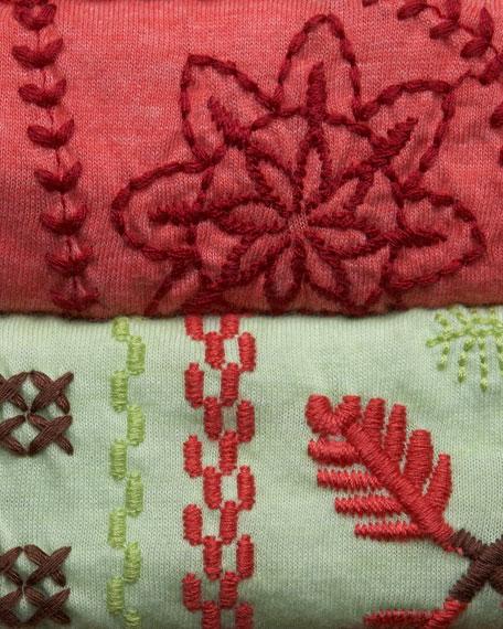 Tricia Embroidered Raglan-Sleeve Tee