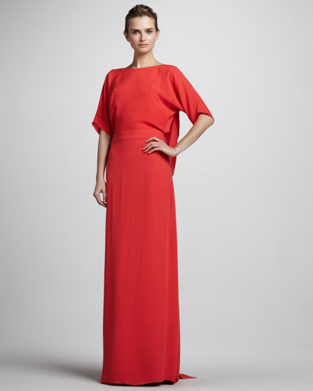Half-Sleeve Gown with Draped Back