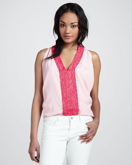 Beaded Georgette Tank Top