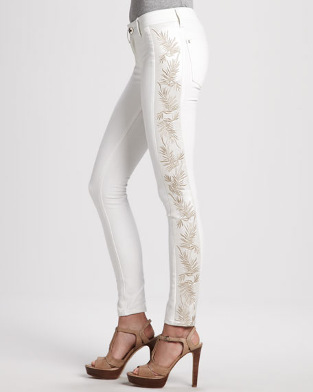 Emma Chantilly Side-Embroidery Leggings