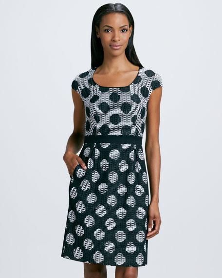 Dot-Pattern Jacquard Sheath Dress