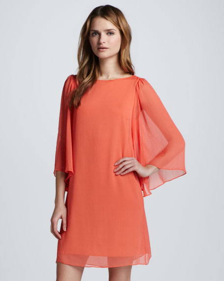Odette Flutter-Sleeve Dress, Papaya