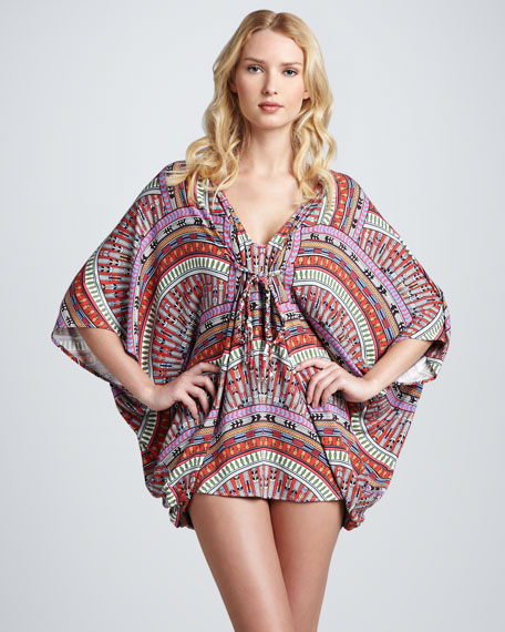 Printed Butterfly Poncho Coverup