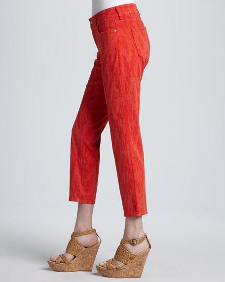 Alisha Printed Ankle Jeans, Cayenne