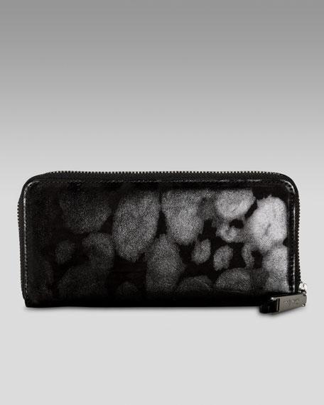 Travel Zip Wallet, Black Leopard Print