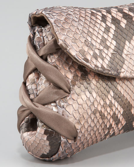 Ballerina Pickstitched Clutch Bag, Python