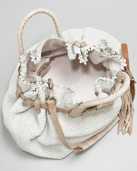 Woven Buckled Top-Handle Bag