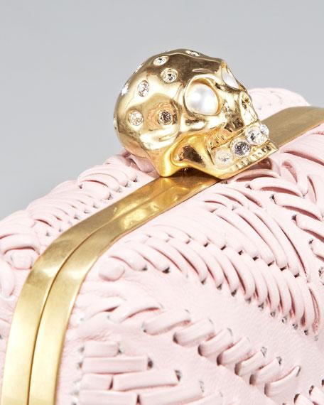 Britannia Skull-Clasp Clutch, Rose