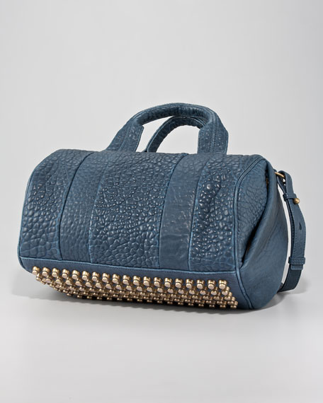 Rocco Stud-Bottom Satchel, Petrol