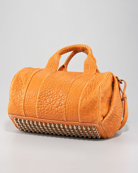 Rocco Stud-Bottom Satchel, Tangerine