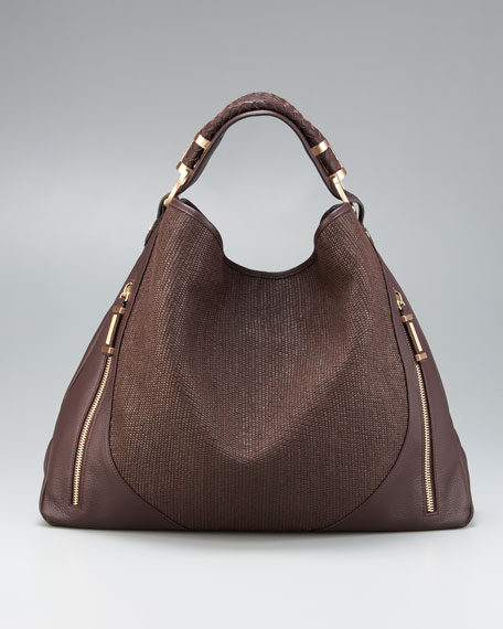 Joni Raffia/Leather Hobo Bag