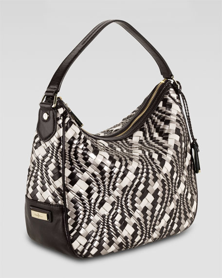 Woven Leather Hobo, Tricolor