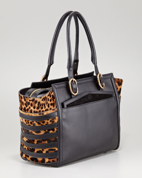 Farida Leopard-Print Bowler Bag
