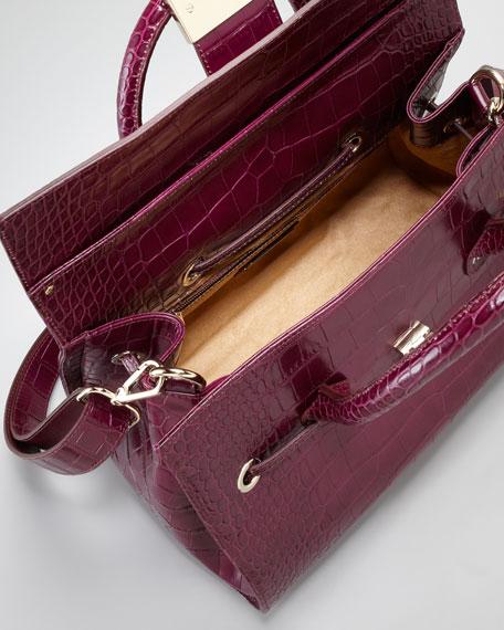 Rosalie Crocodile-Embossed Satchel Bag