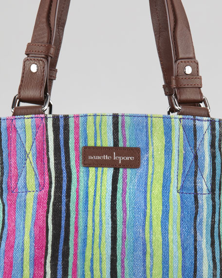 Striped Linen Tote Bag