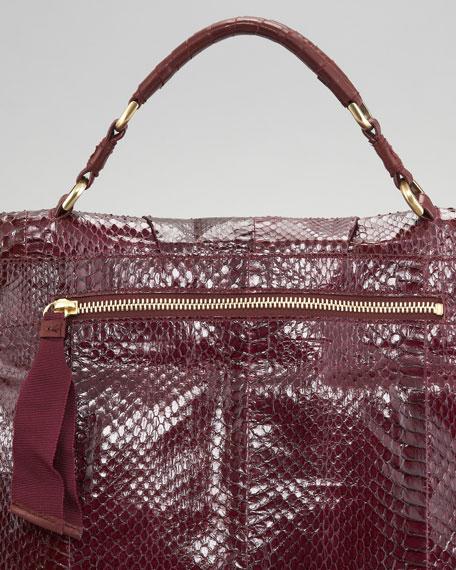 Liane Snakeskin Satchel Bag