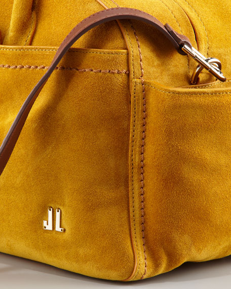 JL Suede Bowling Bag, Small