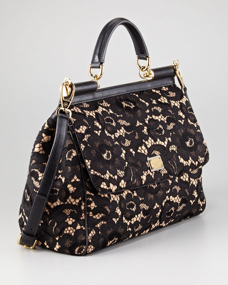 Floral Lace Miss Sicily Satchel Bag